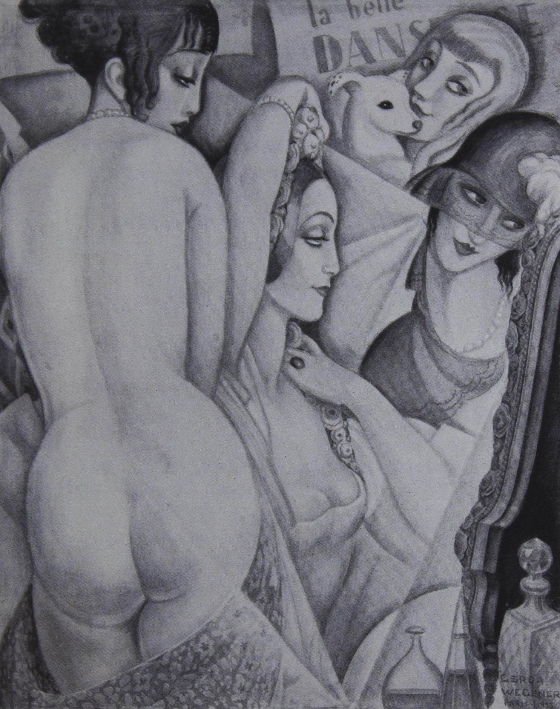 Ein Gemälde von Gerda Wegener:                             im Vordergrunde links Lili, vor dem                             Spiegel die Prima Ballerina des Kgl. Theaters in Kopenhagen                                               , neben ihr                             die Freundin Elena und im                             Hintergrund die Künstlerin. Paris                             1922