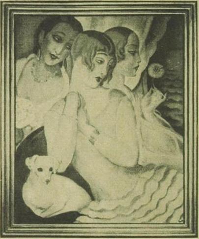 Ein Gemälde Gerda                                         Wegeners: Drei Frauen Für die mittlere diente der                                     Künstlerin ihr Gatte Einar                                     als Modell, in der Frau rechts stellte sie sich selbst                                 dar