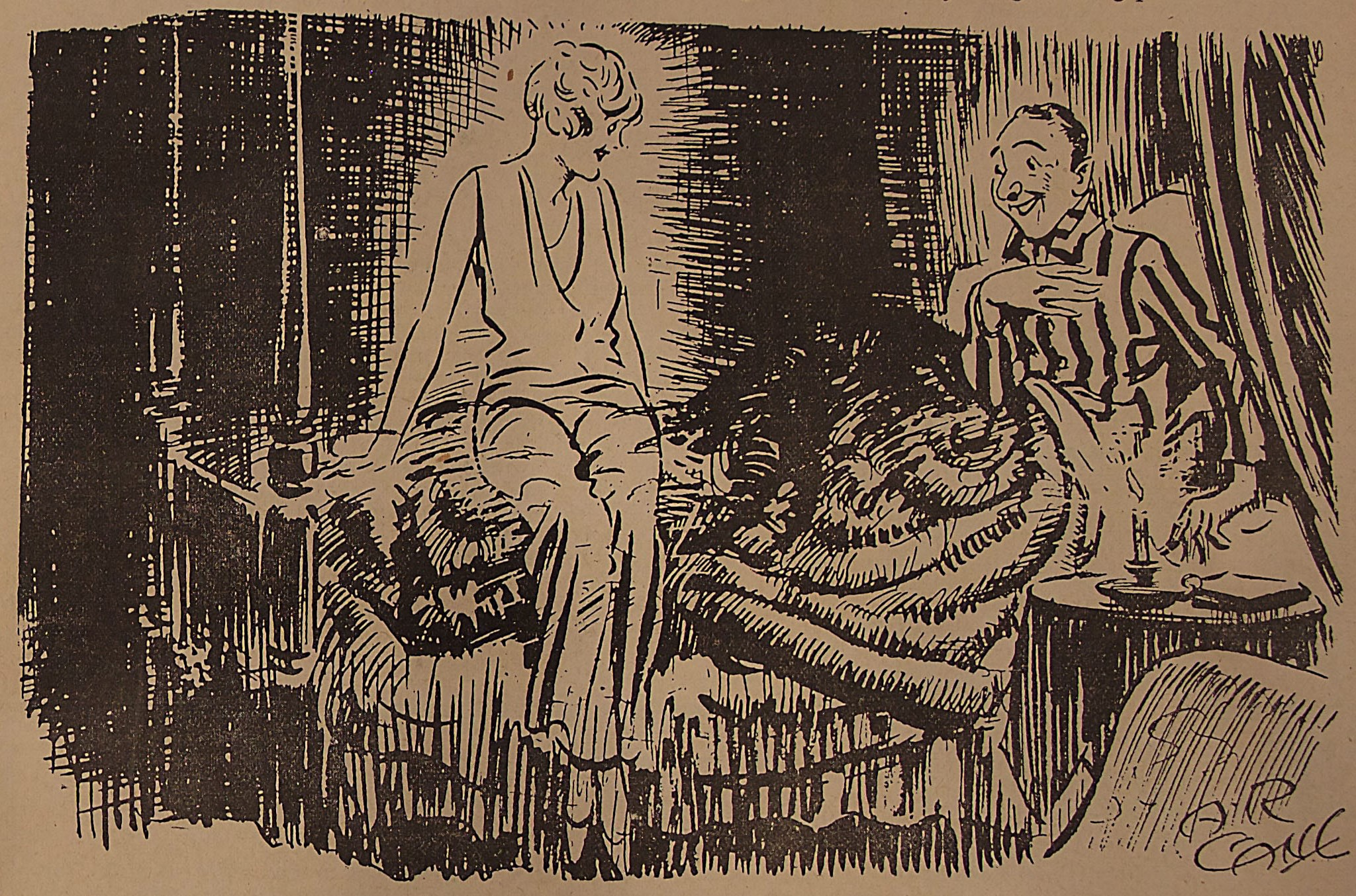 A man in striped pajamas is sitting up in a bed. A woman with                      short hair, dressed in an elegant pantsuit, sits at the end of the bed smiling                      at the man. A lit candle is on the bedside table. The cartoon is signed A.R.                      CANE.
